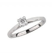 9ct White Gold 0.2ct Solitaire Diamond Ring Four Claw V style mount